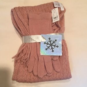 New York & Company pink scarf and glove set